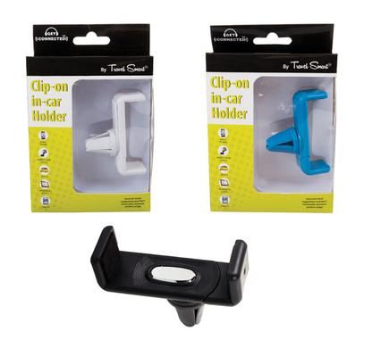 Mobile in car device holder clip-on