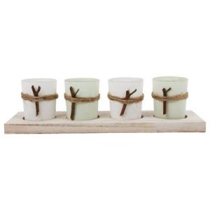 4 candle holders on a stand