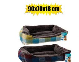 Pet bed rectangle faux fur 90x70x18cm