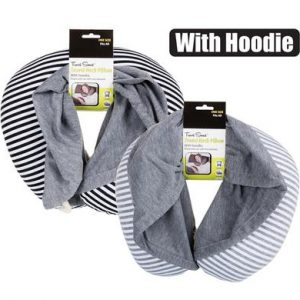 Travel pillow striped with hoodie